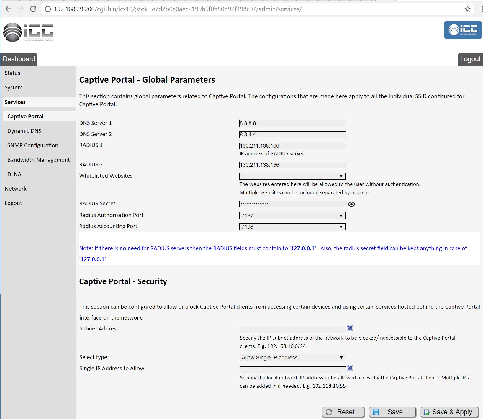 icc captive portal step 1