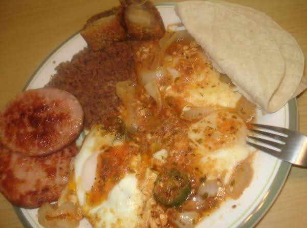 Mexican Breakfast, Ham, Huevos Rancheros, Beans, Tortillas, Chicharones