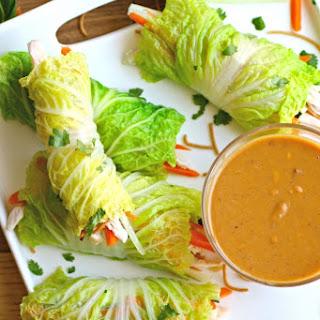 Napa Cabbage Summer Rolls with Chicken & Spicy Peanut Sauce.