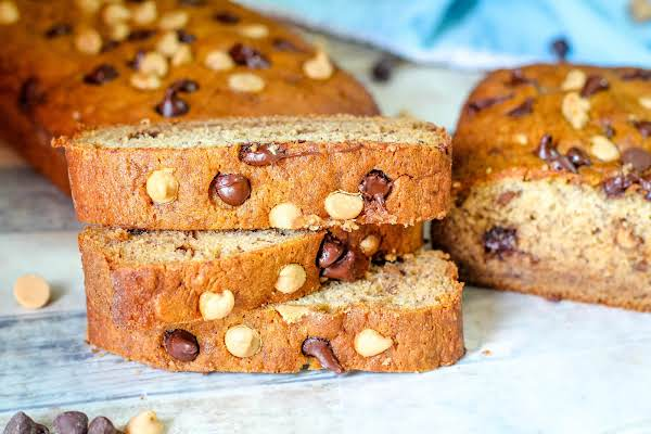 Stacked Slices Of The Chocolate Peanut Butter Banana Bread.