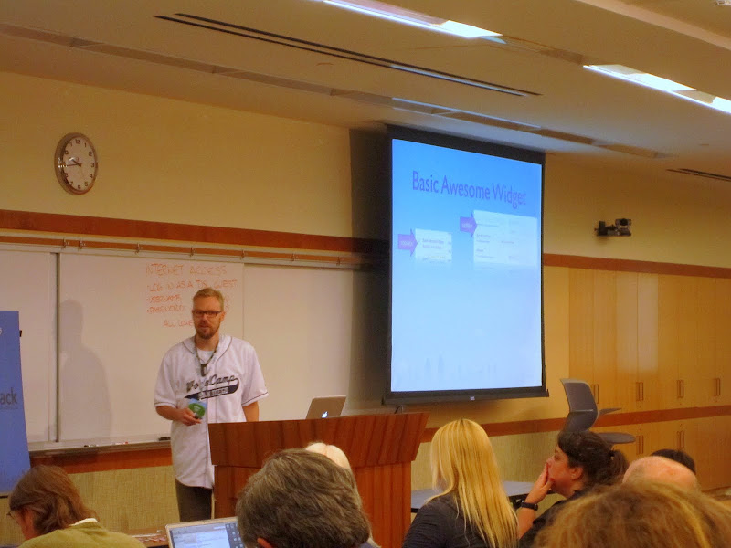 """Photo: @jeffreyzinn presenting """"Playing Hooky with Actions & Filters"""" at WordCamp San Diego"""
