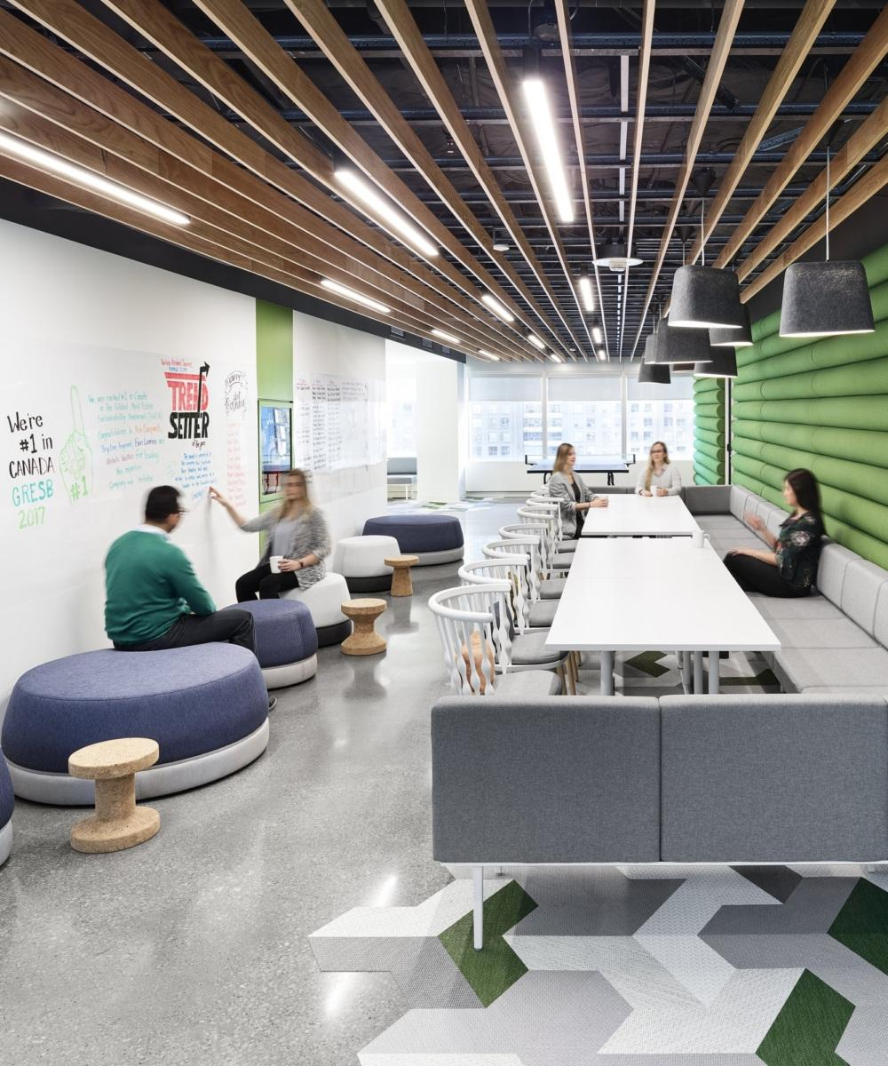Example of GWL realty advisors' agile office space, showcasing dynamic open spaces with movable furniture