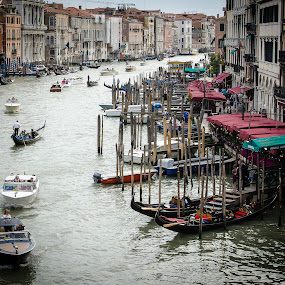 Grand Canal Traffic by Adam Lowe - City,  Street & Park  Street Scenes ( vacation, status, venice, activities, places, italy, print )