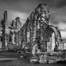 by Stephen  Barker - Black & White Buildings & Architecture ( stormy, dramatic, whitby abby, abandoned, low light )