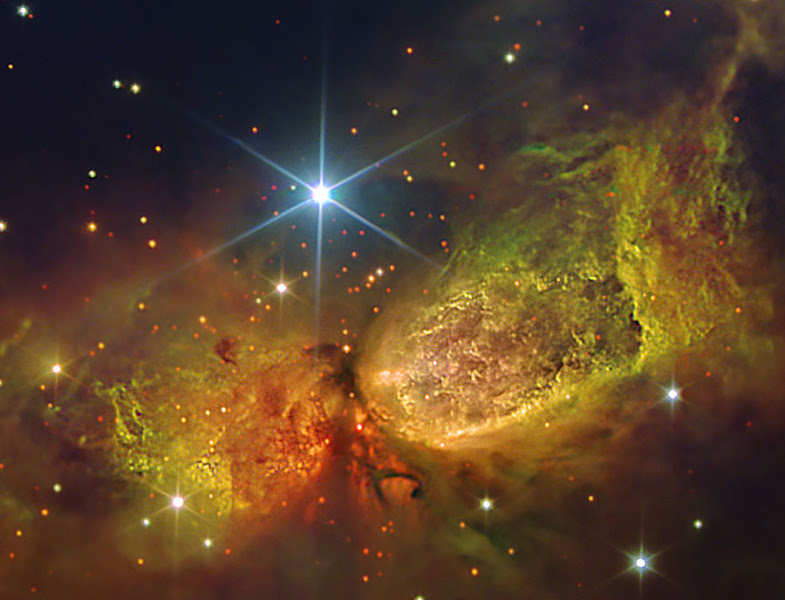 Photo: Massive star IRS 4 is beginning to spread its wings. Born only about 100,000 years ago, material streaming out from this newborn star has formed the nebula dubbed Sharpless 2-106 Nebula (S106), pictured above. A large disk of dust and gas orbiting Infrared Source 4 (IRS 4), visible in dark red near the image center, gives the nebula an hourglass or butterfly shape. S106 gas near IRS 4 acts as an emission nebula as it emits light after being ionized, while dust far from IRS 4 reflects light from the central star and so acts as a reflection nebula. Detailed inspection of images like the above image has revealed hundreds of low-mass brown dwarf stars lurking in the nebula's gas. S106 spans about 2 light-years and lies about 2000 light-years away toward the constellation of the Swan (Cygnus).