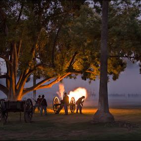 Canon Fire at Dusk by Andrew Tolsma - News & Events US Events ( canon fire civil war trees dusk )