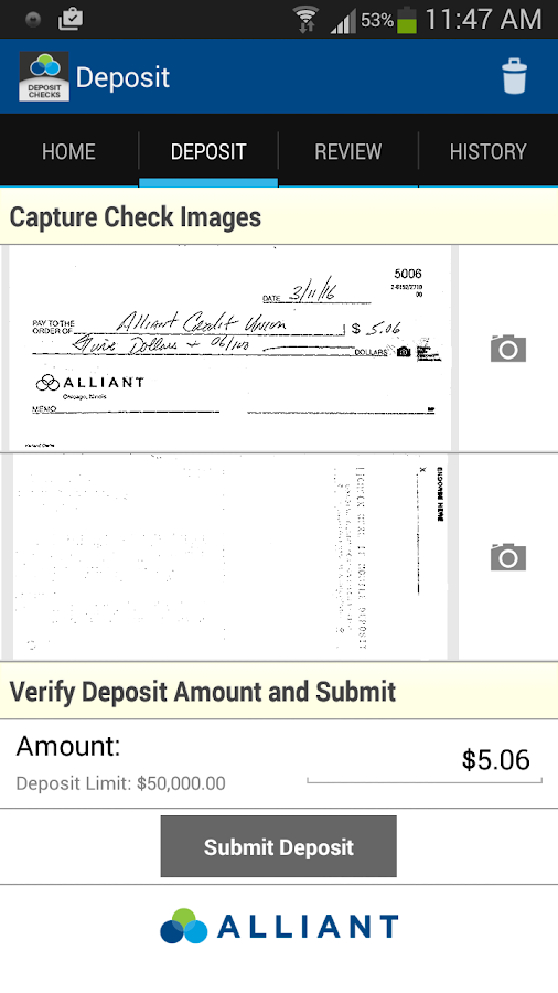 Alliant Mobile Deposit- screenshot
