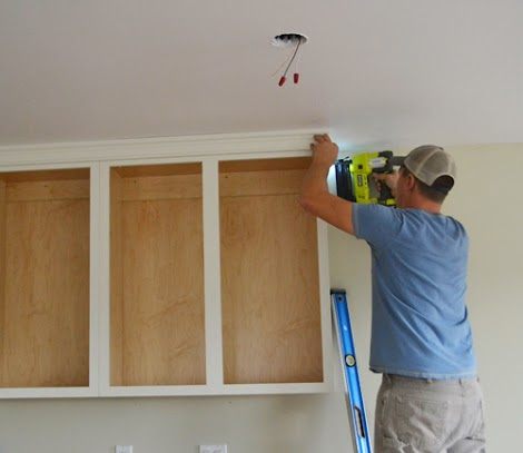 Adding crown moulding to wall kitchen cabinets momplex for Adding crown molding to kitchen cabinets before after