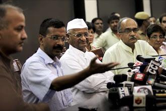 Photo: Team Anna on fast, seeks probe against Pranab http://t.in.com/eqsw