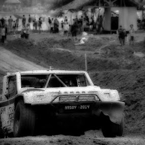 Rally Car by Hasby Photography - Black & White Sports ( blackandwhite, blackandwhitephotography, black and white, bw )