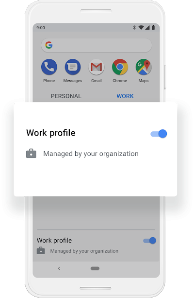 A Google phone screen that shows Work Profile getting turned on.