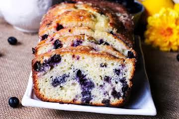 Lemon Glazed Blueberry Tea Bread