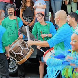 The street musicians in Brussels by Svetlana Saenkova - People Musicians & Entertainers ( street art, blue and green, musicians, drum, brussels, belgium, costume )