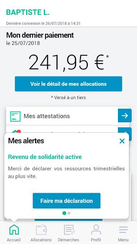 Caf - Mon Compte Android App Screenshot