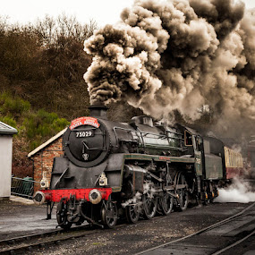 75029 by Martin Tyson - Transportation Trains ( north yorkshire moors, track, express, historic, heritage, the green knight, grosmont, martin tyson canon 5d mkii, santa, railway, yorkshire, train, nymr, 75029, special, steam )