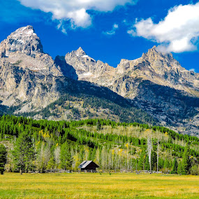 Alone in the Wilderness by Norma Brandsberg - Landscapes Mountains & Hills ( hills, photograph, mountain, www.elegantfinephotography.com, wyoming, award, hiking, historic, camp, sky, barn, camping, grand, family, foothill, photographer, place, national, horizon, skies, fence, winning, vacation, brandsberg, awards, cabin, peak, land, landscape, farm, jackson, trip, hole, top, photogenic, sharp, park, friendly, photo, prairie, mormon, history, shed, plan, blue, vista, norma, craggy, tour, teton, hike,  )