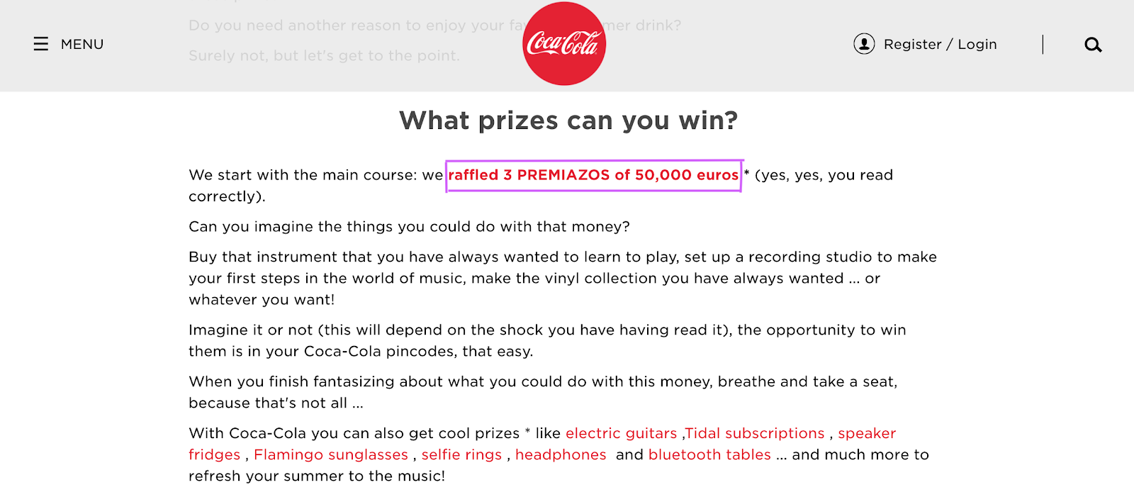 Translation example in Coca Cola