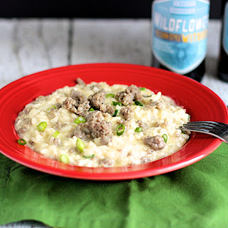 Beer, Cheddar, and Sausage Risotto