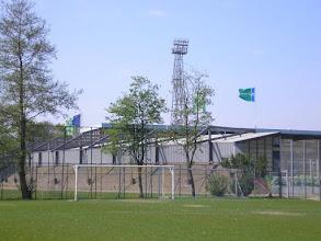 Photo: De Oost-tribune waar de uitsupporters werden ontvangen.