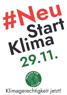 Plakat: «'Neu Start Klima 29.11. Fridays for Future. Klimagerechtigkeit jetzt!».