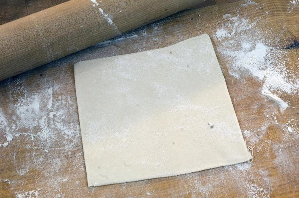 Use a rolling pin to roll out to 5x5 inches.