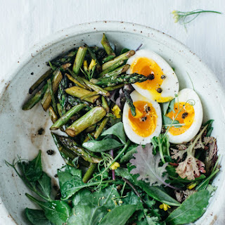 Balsamic Asparagus Salad W/ Fried Capers + 7-minute Eggs (gf).