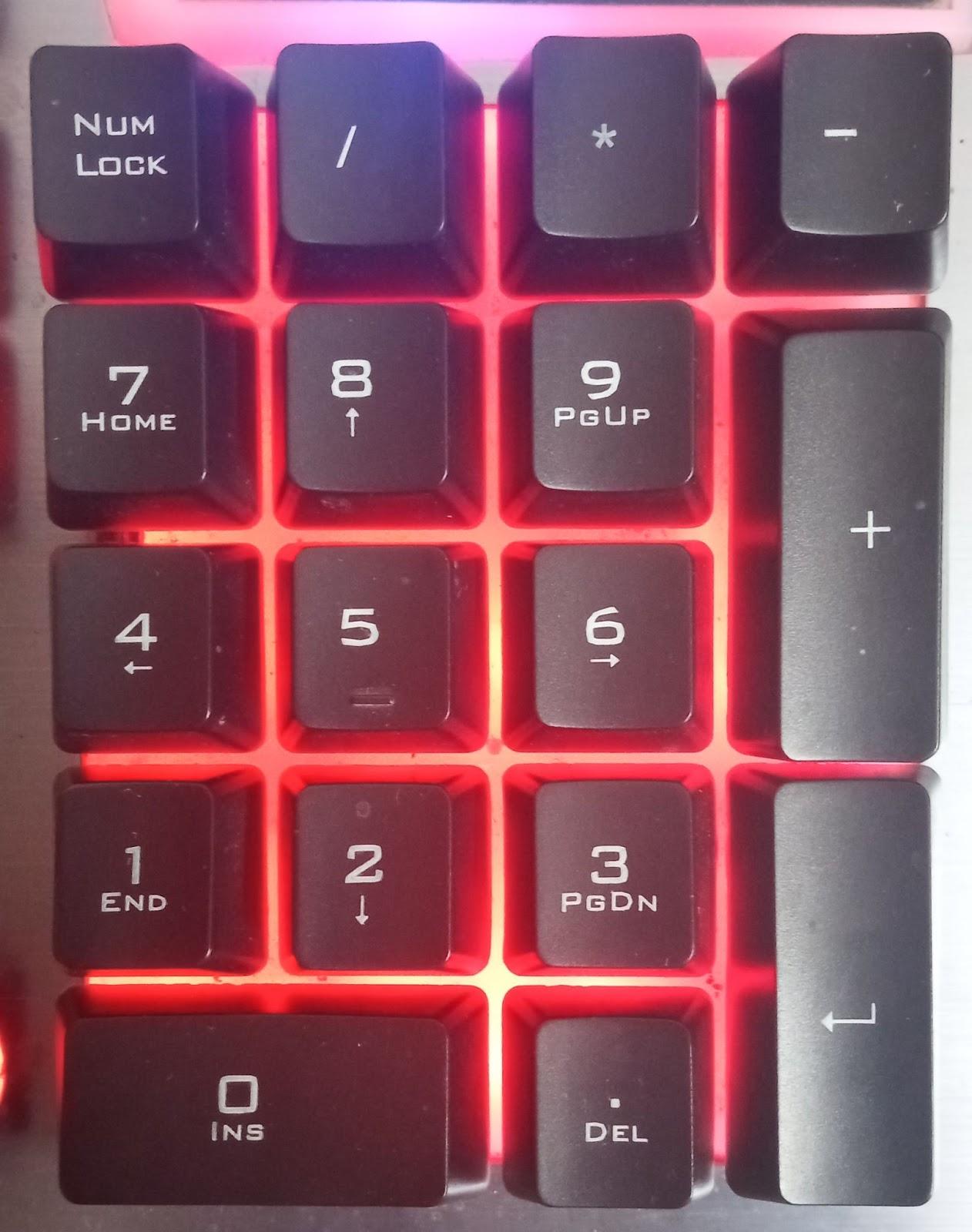 The Number keys on a Numeric Keypad on a keyboard
