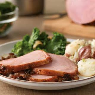 Honey Balsamic-Glazed Ham With Garlic Kale And Smashed Potatoes.