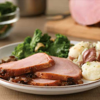 Honey Balsamic-Glazed Ham With Garlic Kale And Smashed Potatoes.