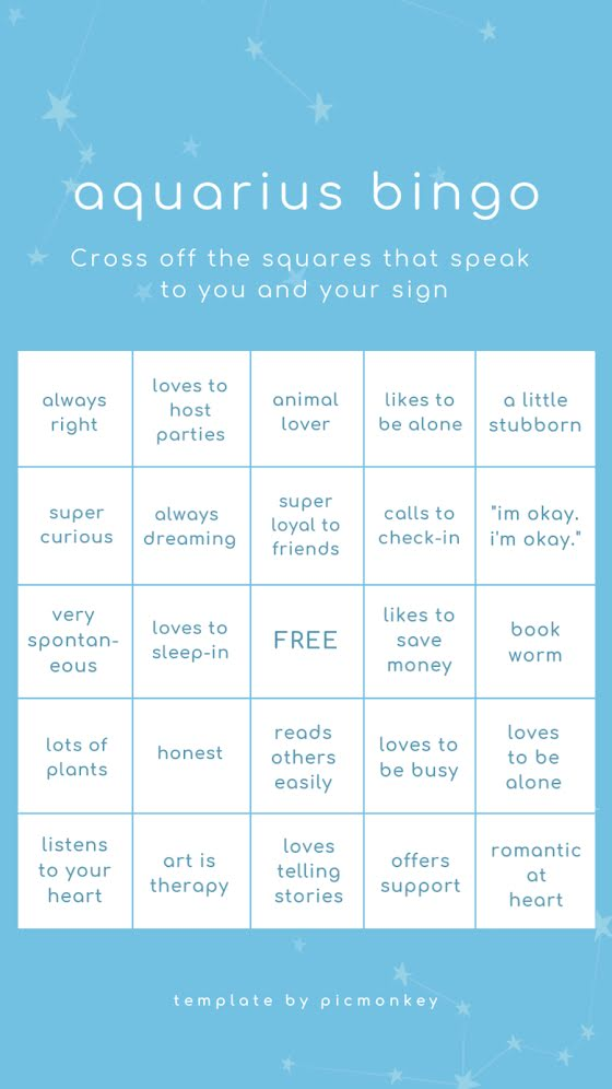 Aquarius Bingo - Facebook Story Template