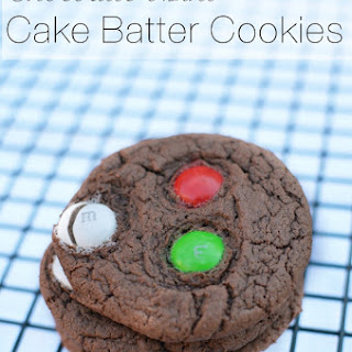Chocolate Mint M&M Cake Batter Cookies