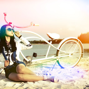Lomo Light by Ahmad Bayyudh Attamimi - Novices Only Objects & Still Life ( sand, cycle, lomo, lake, beach, bicycle )