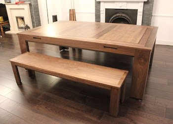 oak Bench Add on on wooden flooring under a wooden table