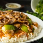 Sliced Pork with Seasonal Vegetables on Rice Dish