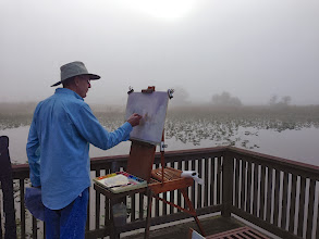 Photo: Tom Ryan painting on a foggy morning at Loxahatchee on Everglades Day 2014