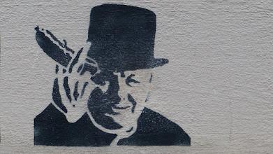 """Photo: Stencil; Unknown Artist; """"Churchil & Würstchen"""""""