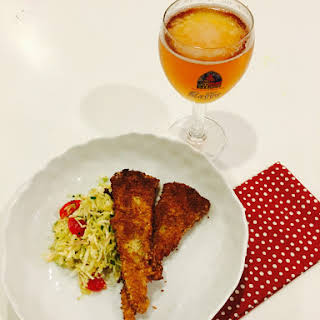 Lemon-Dill Panko Breaded Cod With Green Cabbage-Mint Salad.