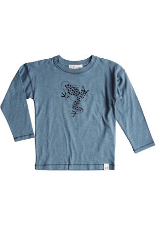 By Heritage Ted longsleeve t-shirt frontprint solid seablue