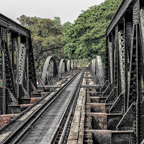 Bridge over the river Kwai by Katherine Rynor - Buildings & Architecture Bridges & Suspended Structures ( river kwai, ironwork, architecture, bridge, rail track,  )