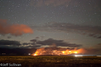 Photo: The Buckeye Fire in Bridgeport as seen across Big Meadow Sunday night.  September 26, 2011.