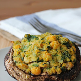Chickpea and Spinach Stuffed Portobello Mushrooms.