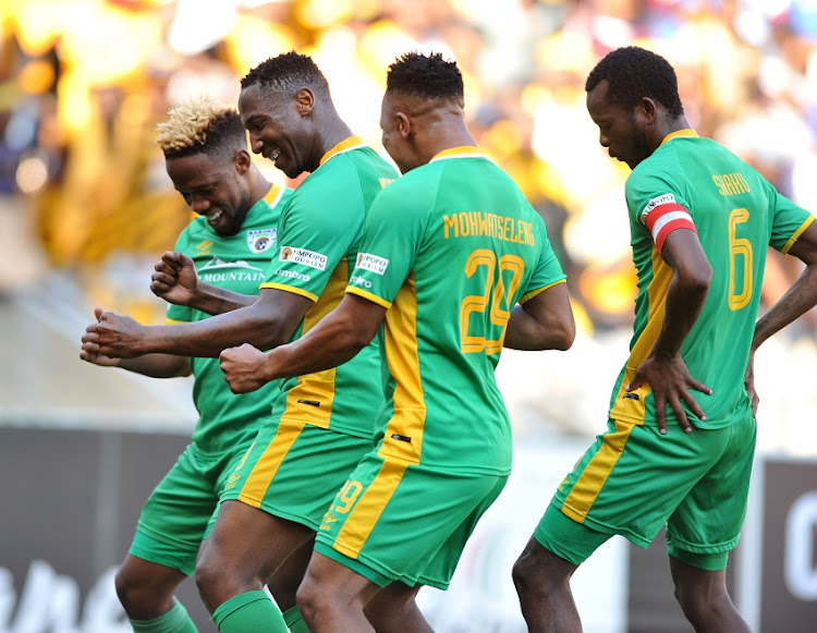 Lucky Nguzana of Baroka FC celebrates his goal with teammates Mduduzi Mdantsane ,Khutso Mohwatseleng and Olaleng Shaku during Absa Premiership 2017/18 game between Baroka FC and Kaizer Chiefs at Peter Mokaba Stadium in Polokwane South Africa on 21 January 2018.