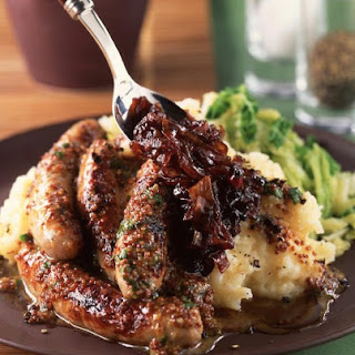Mustard Sausages with Red Onion Marmalade