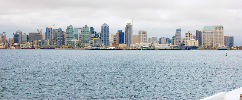 The San Diego skyline, seen during a Hornblower brunch cruise. (Click to enlarge.)