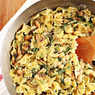 One Pot Mushroom Spinach Pasta with Beans Recipe Card.