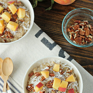 Peach, Pecan and Coconut Oatmeal