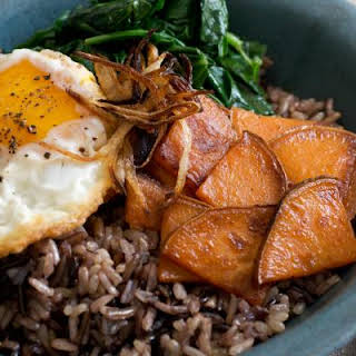 Maple-Glazed Sweet Potatoes, Spinach, Fried Eggs.