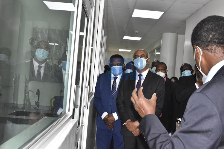 National emergency and response team lead by Health CAS Rashid Aman tour KEMRI laboratories at KEMRI headquarters on August 27,2020/ MERCY MUMO