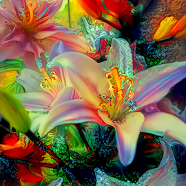 Lilies Elodie colorful by Cassy 67 - Digital Art Things ( digital, love, harmony, flowers, abstract art, abstract, lilies, creative, digital art, flower, modern, light, lily, energy )