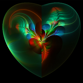 Heart in green by Cassy 67 - Illustration Abstract & Patterns ( hearts, heart, flowerrs, digital art, fractal, digital, fractals, flower )